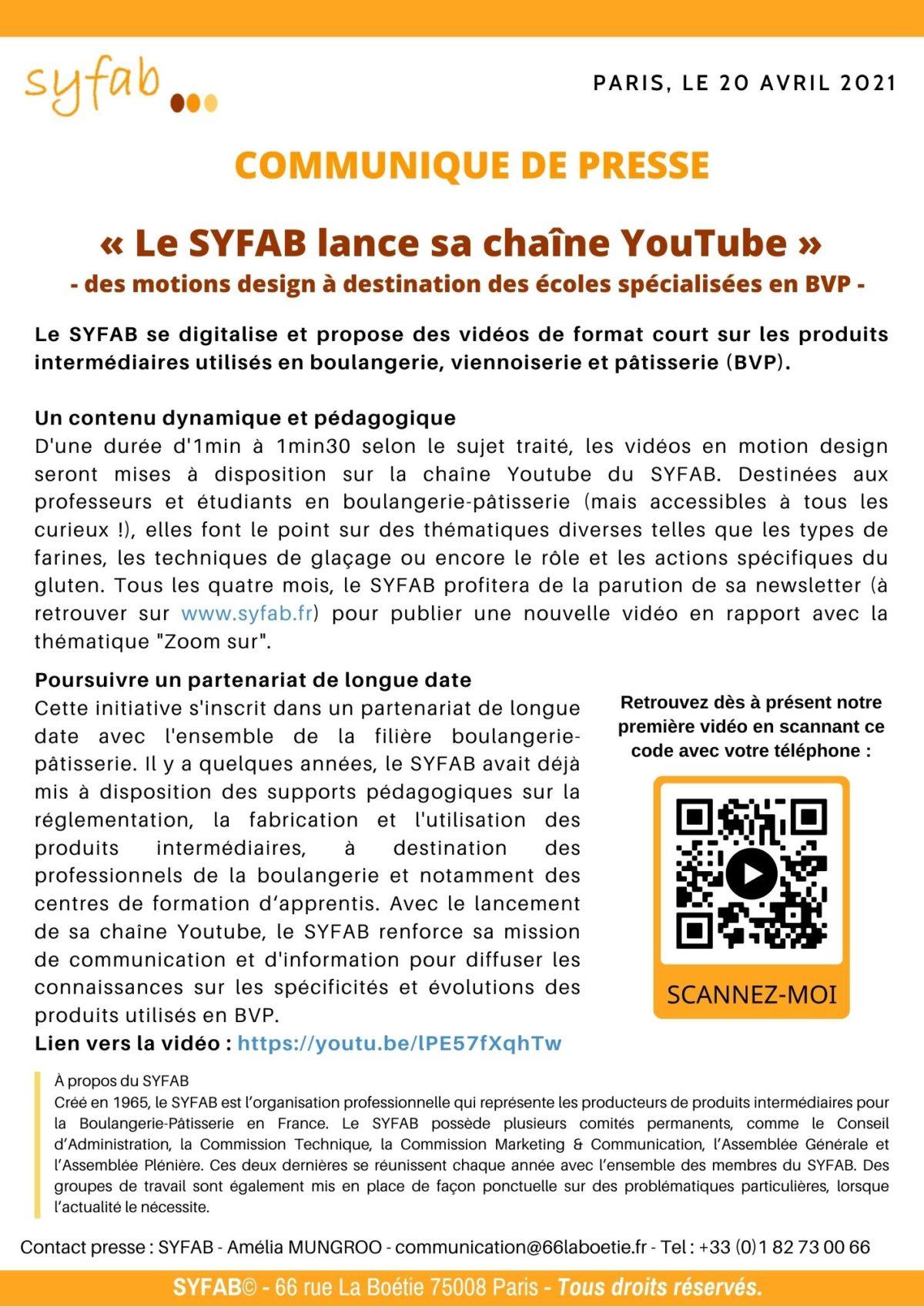 [COMMUNIQUE DE PRESSE] – Le SYFAB lance sa chaîne YouTube – des motions design à destination des écoles spécialisées en BVP (Boulangerie Viennoiserie Pâtisserie).